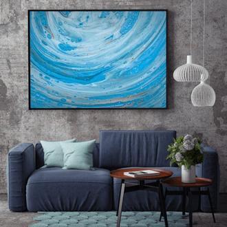 """Интерьерная картина жидким акрилом """"Голубые волны"""""""