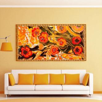 """Интерьерная картина жидким акрилом """"Оранжевые цветы"""""""