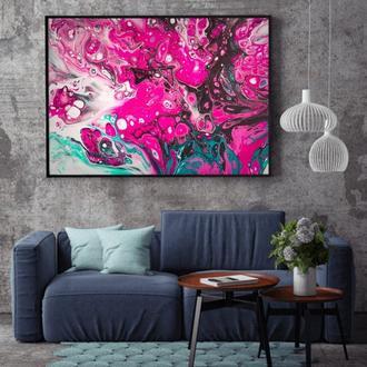 """Интерьерная картина жидким акрилом """"Цветочная абстракция"""""""