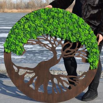 Картина Панно Дерево с стабилизированным мхом NDwood