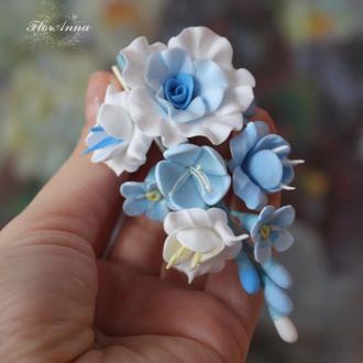 """Заколка  с цветами """"воздушная нежность"""""""