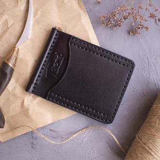 Кожаный кошелёк прижим для купюр компактный