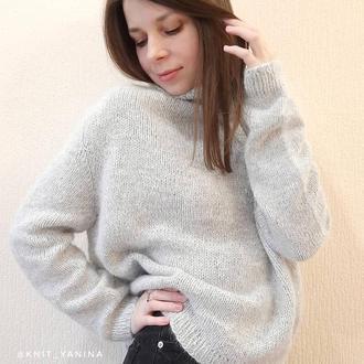 Тёплый светло серый свитер из пуха норки
