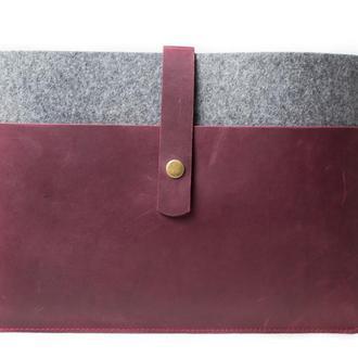 Чехол для Macbook из фетра и натуральной кожи. 03024/бордо