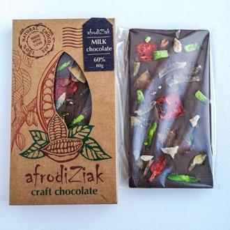 """Молочный шоколад 60 %  Afrodiziak """" Цукаты """"  безлактозный , крафтовый"""