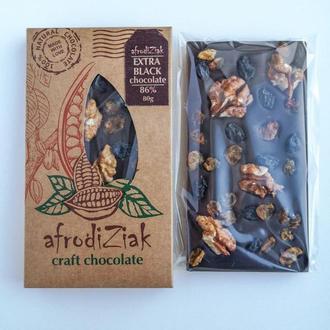 Экстра черный натуральный шоколад 85%  Afrodiziak Грецкий орех / Изюм
