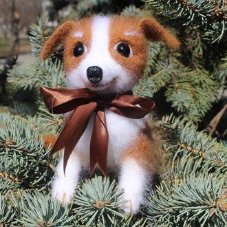 Собачка Игрушки валяные из шерсти щенок войлочная интерьерная сувенир подарок песик собака