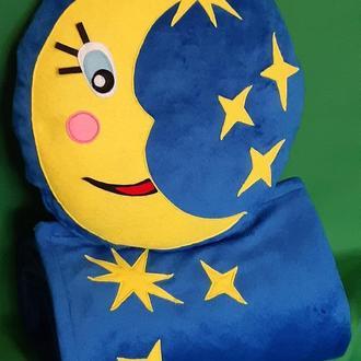"""Комплект """"Ночь"""": Подушка с Месяцем и звездами и плед (темно-синий)"""