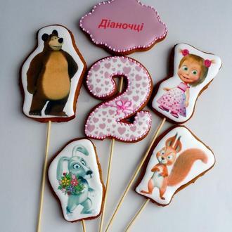 """Набор имбирных пряников для торта """"Маша и медведь"""""""