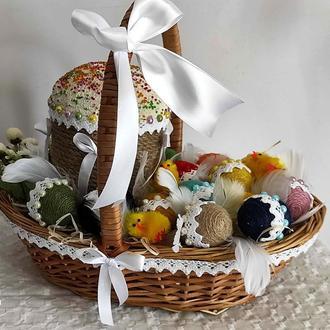 Пасхальная корзина с декором. Пасхальный подарок и сувенир