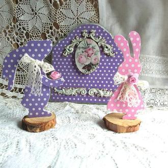 Пасхальный декор, панно декупаж, кролики декупаж
