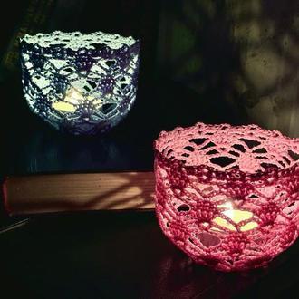 Романтические подсвечники нежно-розовый и небесно-голубой