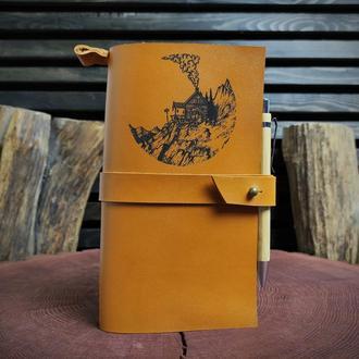 Кожаный блокнот с гравировкой, именной кожаный блокнот с твоим рисункомоим