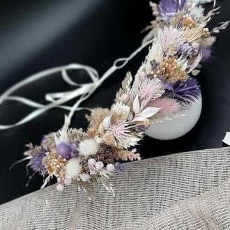 Венок лавандовый с  сухоцветами для волос
