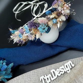 Венок лавандовый в голубых и фиолетовых тонах с сухоцветами для волос