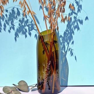 ваза оливкова з малюнками 18 см висота для сухоцвітів