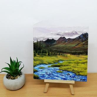 Миниатюра Карпаты, Красивый пейзаж маслом, Горный пейзаж, Маленькая картина, Авторская живопись