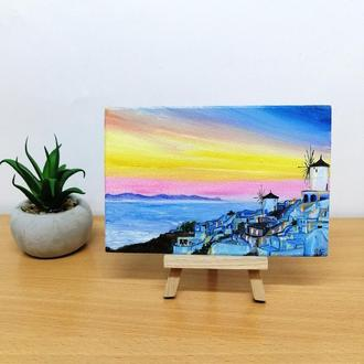 Миниатюра маслом Санторини, Маленькая картина маслом, Масляная живопись на ДВП, Картина на подарок