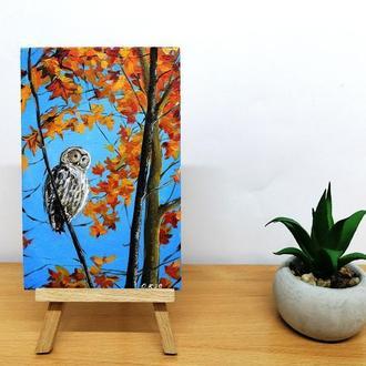 Миниатюра маслом сова, Картина с совой, Картина на подарок, Авторская живопись, Подарочный набор