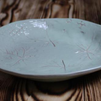 Керамическая тарелка Отпечаток Листьев