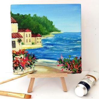 Маленькая картина Италия, Миниатюрная живопись, Красивая картина маслом, Авторская живопись