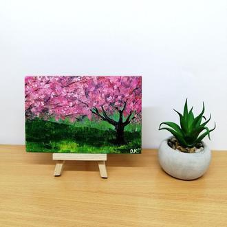Картина маслом сакура, Авторская живопись, Цветение сакуры картина, Миниатюра маслом