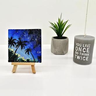 Картина маслом пальмы, Тропический пейзаж с пальмами, Авторская живопись, Маленькая картина
