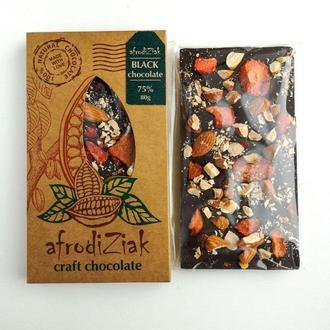 Темный натуральный шоколад 75% ТМ Afrodiziak Миндаль / Клубника