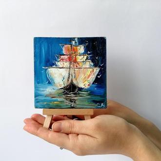 Картина маслом парусник, Картина маслом с кораблем, Подарочный набор с картиной