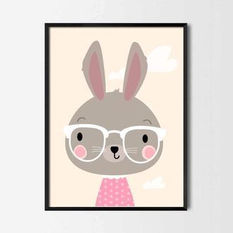Постер для детской Заяц в очках