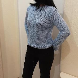 Голубой вязаный женский свитер. Базовый пуловер.