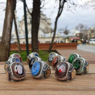 Курьезный перстень из натурального серебра с возможностью рисунка по бокам