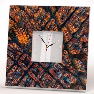Часы с зеркалом и видом Барселоны. Крутой подарок для путешественника. Каталония. Испания