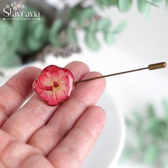 Брошь булавка с настоящей розой