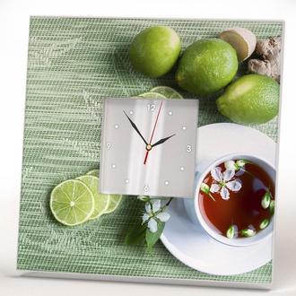 """Красивые часы для кухни """"Чай с лимонами"""" стильный подарок"""