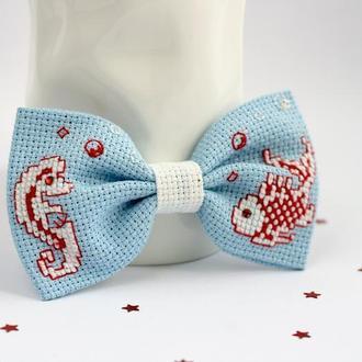 Краватка - метелик в морському стилі з рибкою і морським коником
