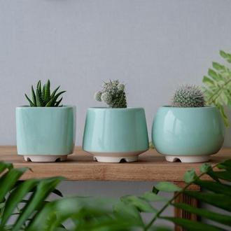 Набор керамических горшков Mini Plant маленького размера 6,2-6,5 см Мятный 3 шт