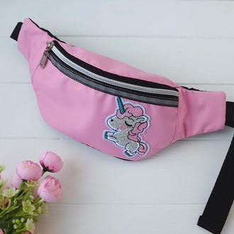 Сумка-бананка с единорогом, розовая поясная розовая сумка, детская барсетка Unicorn