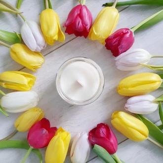 Органическая свеча с деревянным фитилем 200 мл - Весенние цветочные ароматы