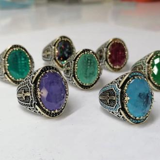 Единственный перстень из серебра с мечом Зульфикар ручной работы с натуральными мини камнями