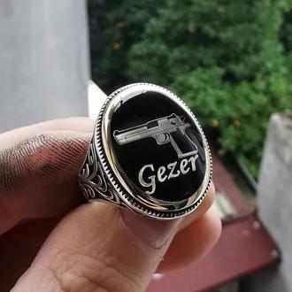Исключительный перстень из серебра с рисунком от ювелирного художника дизайнера ручной работы