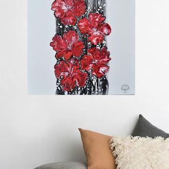 Картина абстракция акрилом на холсте Цветы