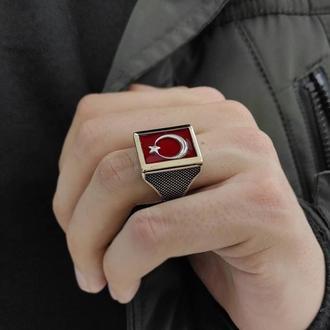 Мусульманский перстень кольцо с красный камнем полумесяц и звезда из серебра ручной работы