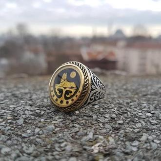 Вайнахский перстень кольцо с чеченской символикой ЛАМРО ручной работы из серебра