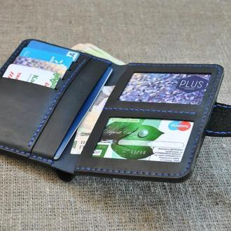 Брутальный портмоне для денег и документов из натуральной кожи  D05-0+600+blue