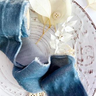 Шелковая бархатная лента Пыльно- синего цвета