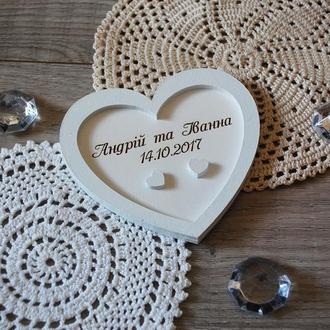 коробочка держатель для свадебных колец Сердце