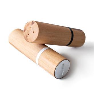 Солонка та перечниця Lipstick Cylinder, натуральне дерево