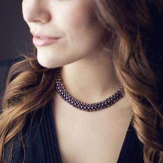 Гранатовое ожерелье-колосок