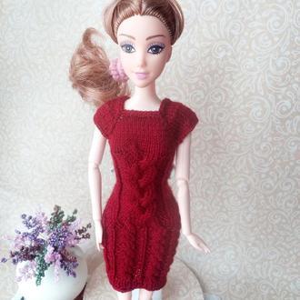 Вязаная одежда для кукол Барби. Платье Коса